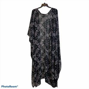Torrid Black Floral Long Kimono Cardigan 3/4XL